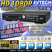 【台灣安防】監視器 1080P AVTECH TVI/AHD 4路3合1融合型監控主機 DVR 4CH 1080P/720P/960H