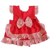 【BlueCat】紅色格子公主 兒童圍裙