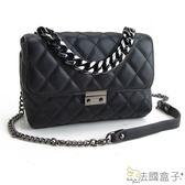 鍊帶包-法國盒子.造型時尚菱格壓扣鍊帶包(黑色)C3016