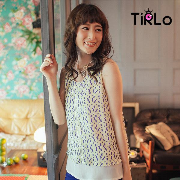 雪紡衫-Tirlo-韓國空運-不規則紋下雪紡無袖雪紡衫