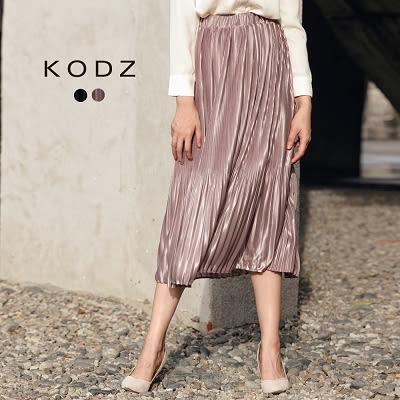 東京著衣【KODZ】歐美爆款金屬感不規則壓褶長裙-S.M.L(172028)