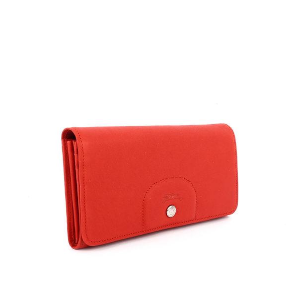 【LONGCHAMP】小羊皮對折長夾(磚紅色) 3146737A29