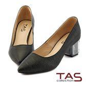 【↘36折】TAS  素面羊皮壓紋尖頭透明水晶跟鞋-低調黑