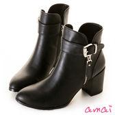 amai韓風時尚皮帶釦飾粗跟短靴 黑