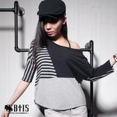 【BTIS】條紋素面飛鼠 短袖上衣 / 黑色