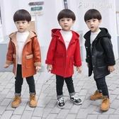 男童加絨皮衣韓版兒童寶寶PU皮外套秋裝風衣男孩大衣 伊鞋本鋪