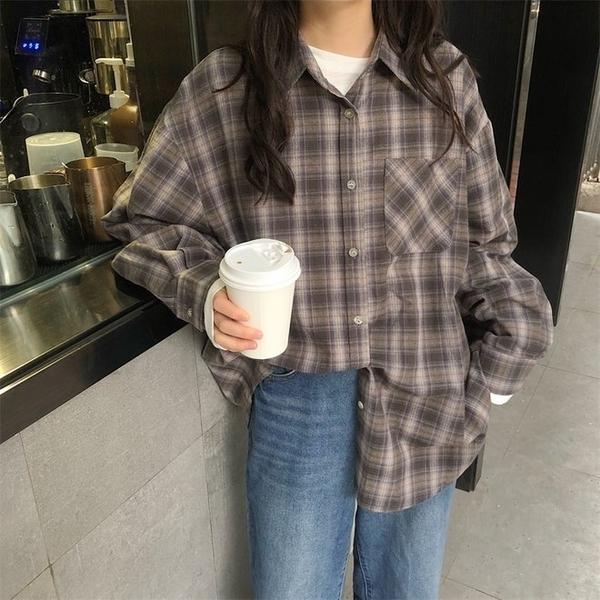 FINDSENSE G6 韓國時尚潮流 2019新款寬鬆原宿風薄款長袖格子襯衫新