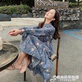 巨棉春裝新款女裝韓版雪紡洋裝女氣質收腰碎花長裙百褶裙子 時尚