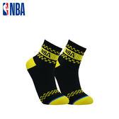 NBA 平版襪 MIT 運動配件 NBA緹花短襪短襪(黑/黃)
