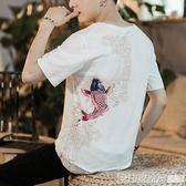 中國風男裝鯉魚刺繡亞麻短袖T恤棉麻休閒唐裝大碼上衣胖子寬鬆夏  印象家品旗艦店