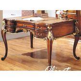 書桌 電腦桌 SB-351-1 奧爵4.6尺法式胡桃金邊辦公桌 【大眾家居舘】