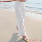 棉麻長褲 白色亞麻女褲夏季薄款寬鬆棉麻褲垂感闊腿褲高腰麻紗長褲子直筒褲 愛丫 新品