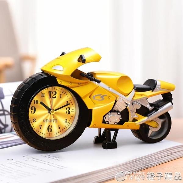 摩托車小鬧鐘學生用男孩專用兒童時鐘卡通創意可愛迷你鬧鈴床頭鐘 『橙子精品』