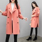 呢子大衣女2018秋裝新款寬鬆毛呢大衣中長款毛呢外套女 Ic2838『MG大尺碼』
