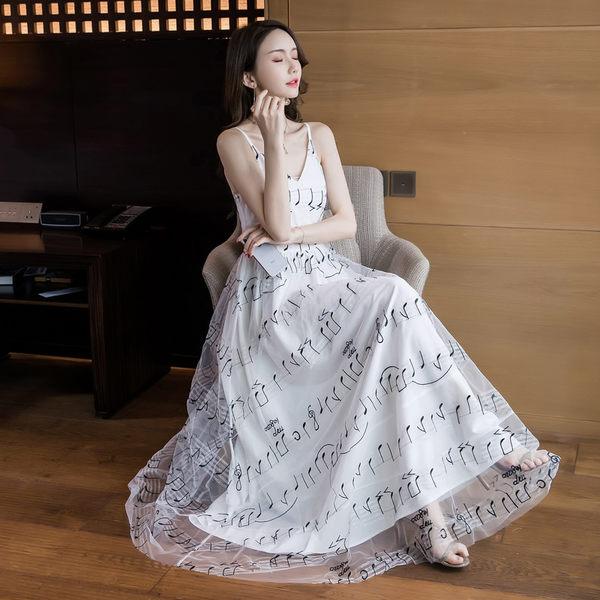 VK旗艦店 韓國風名媛氣質音樂印花長版無袖洋裝