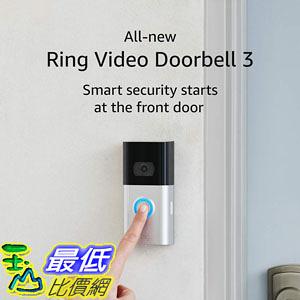 [9美國直購] 可錄影視訊門鈴 All-new Ring Video Doorbell 3 – 1080p HD video, improved motion detection