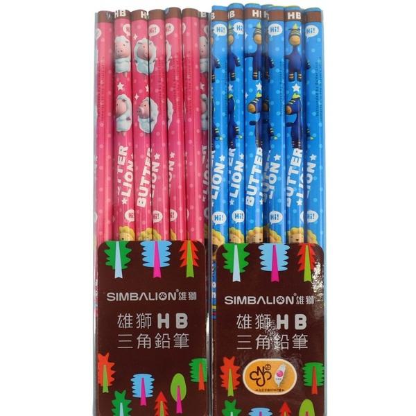奶油獅好朋友鉛筆 NO.169HB 雪花豬 三角塗頭鉛筆/一小盒12支入{定60} 粉紅版~台灣廠製