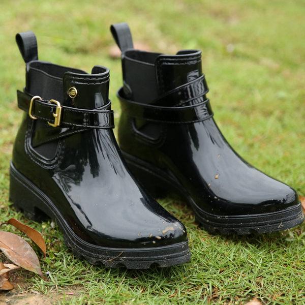 【610】短筒歐美風鏡面U型PVC雨鞋 膠鞋(黑)
