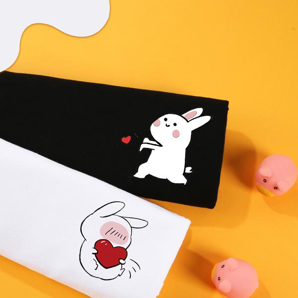 情侶裝  情侶T 潮T 純棉短T MIT台灣製【Y0858-14】短袖-抱心兔子VC丟心兔子 班服 24小時快速出貨