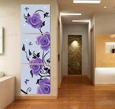 現代無框畫玄關冰晶玻璃畫裝飾畫走廊客廳三聯畫壁畫豎版畫紫玫瑰LG-67043