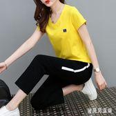 大碼套裝 2019新款韓版時尚氣質潮流棉質寬鬆休閒運動套裝女  YN758『寶貝兒童裝』