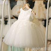 公主裙女童蓬蓬婚紗夏季花童小女孩花童鋼琴演出服主持人晚禮服白 moon衣櫥