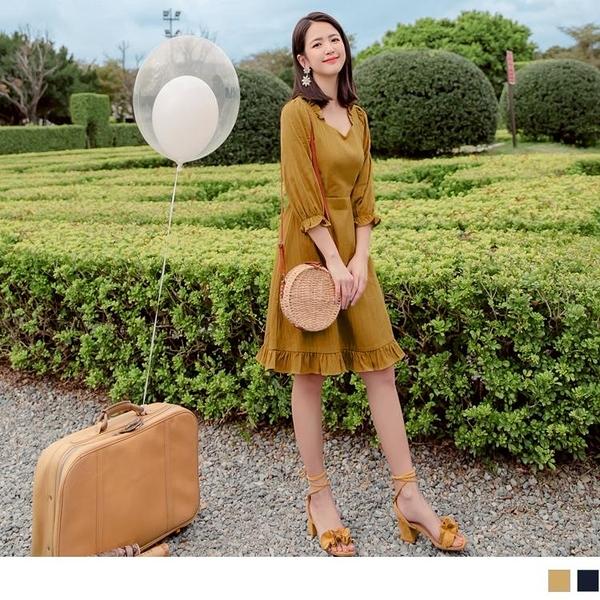 《DA8327》高含棉壓紋拼接荷葉邊桃心領露背鬆緊洋裝 OrangeBear