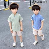 男童唐裝中國風民國童裝周歲男寶寶棉麻套裝