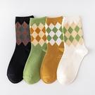 復古菱形多格子大人中筒襪 大人襪 襪子 中筒襪