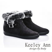 ★2015秋冬★Keeley Ann 甜美氣息~溫暖兔毛絨邊釦帶短靴(黑色)