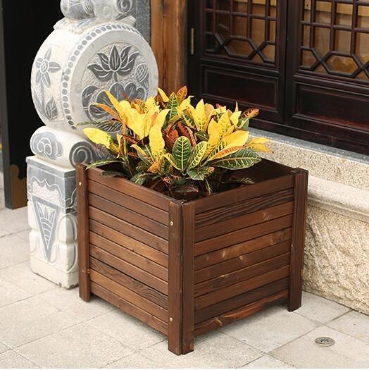種植箱 防腐木花箱碳化實木花盆木質槽陽台戶外長正方形特大號種樹 - 夢藝家