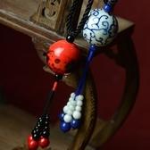 毛衣鍊 民族風陶瓷-古典風格生日母親節禮物女項鍊2色73hf52【時尚巴黎】
