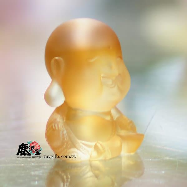鹿港窯-居家開運水晶琉璃擺飾-Q版好神公仔~健康達人-彌勒佛