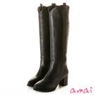 amai超修飾V型微寬筒粗跟長靴 黑...