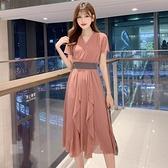 夏季新款女神范時尚v領亮片不規則大裙擺輕熟風氣質連身裙子 卡卡西 卡卡西卡卡西