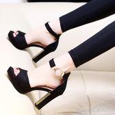 韓版新款夏季一字扣涼鞋女百搭時尚魚嘴鞋春天中空粗跟高跟鞋『小宅妮時尚』