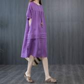 棉麻素色拼接顯瘦洋裝-大尺碼 獨具衣格 J3013