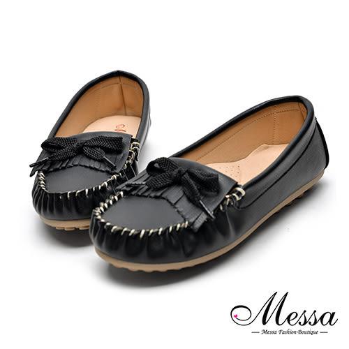 【Messa米莎專櫃女鞋】MIT流蘇二縫線綁帶超軟墊休閒鞋-黑色