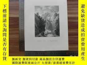 二手書博民逛書店【罕見】19世紀 銅 鋼版畫 單幅 WATER FALL AT