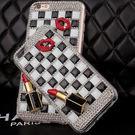 SONY XZ3 XZ2 XZ1 Ultra ZX XA2 Plus XA1 L2 XZ Premium 手機殼 水鑽殼 客製化 訂做 方塊黑白格子嘴唇