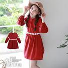 女童洋裝 甜美緹花收腰長袖公主連身裙 韓國外貿中大童 QB allshine