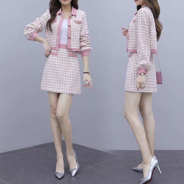 絕版出清 韓系粉色格紋小香風時尚名媛氣質套裝長袖裙裝