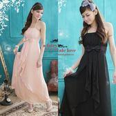 希臘風胸前折疊雪紡長洋裝小禮服-美之札