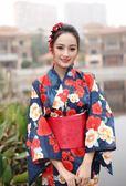 浴袍 2019日本正裝和服女 新款純棉和服浴衣 傳統腰部折疊 【】【全館免運】