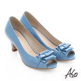 A.S.O 逸麗知性 真皮甜美蝴蝶結魚口跟鞋  淺藍