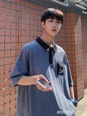 五分袖翻領寬鬆男士T恤夏季韓版潮流原宿短袖POLO衫    傑克型男館