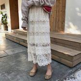 蕾絲 蛋糕裙 多層次 長裙 透膚 裙子 襯裙 花 刺繡 白 半身裙 氣質 顯瘦 百搭 韓國 NXS