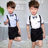 禮服 童裝男童夏季短袖禮服六一兒童合唱演出禮服背帶褲小學生禮服Mt1209『紅袖伊人』
