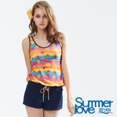 【Summer Love 夏之戀】加大碼繽紛印花連身褲兩件式泳衣(S18703)