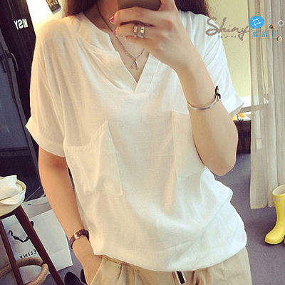 【V0024】shiny藍格子-輕鬆時尚.純色V領雙口袋寬鬆短袖上衣